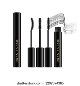A mascara tube and a wand applicator. Cosmetic black gold bottle with eyelash brush. Isolated on white background. Grunge swatch, black wavy brush stroke hand drawn. 3d realistic vector illustration.