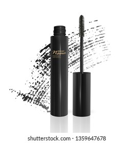 A mascara tube and a wand applicator. Cosmetic black bottle with eyelash brush. Isolated on white background. black brush stroke, 3d realistic vector illustration