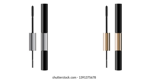 A mascara tube and   wand applicator. Cosmetic bottle with eyelash brush. Isolated on white background. Grunge swatch, black wavy brush stroke hand drawn. 3d realistic vector illustration.