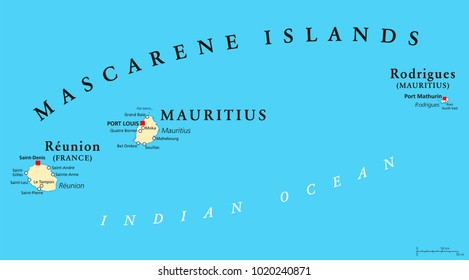 Mascarene Islands political map with capitals, consisting of Mauritius, Reunion and Rodrigues. Mascarenhas Archipelago, a group of islands in the Indian Ocean. English labeling. Illustration. Vector.