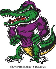 Mascot Alligator, proud and tough, which gives tribute to traditional school mascots used all over the USA for decades. Suitable for all sports.