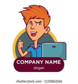 mascot avatar logo with computer gadget
