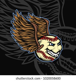 Mascot of baseball ball with smiling face and wings.