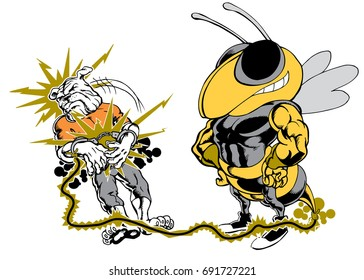 Mascot Bee electrocuting a bulldog, tough, which gives tribute to traditional school mascots but with a new look and attitude. Suitable for all sports.