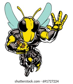 Mascot Bee flying forward with football, tough, which gives tribute to traditional school mascots but with a new look and attitude. Suitable for all sports.