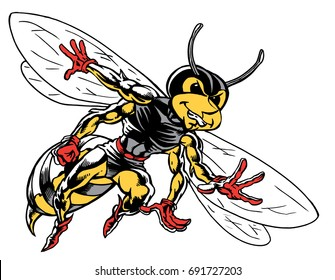 Mascot Bee flying, tough, which gives tribute to traditional school mascots but with a new look and attitude. Suitable for all sports.