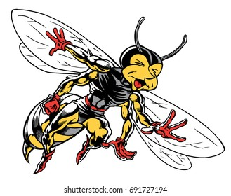 Mascot Bee in pain, which gives tribute to traditional school mascots but with a new look and attitude. Suitable for all sports.