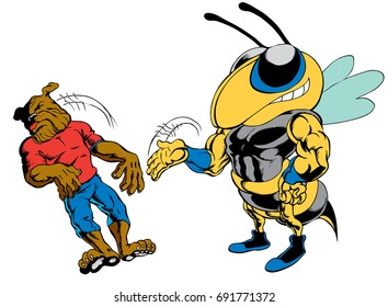 Mascot Bee Slapping Bulldog reminiscent of traditional school mascots but with a new look and attitude. Suitable for all sports.