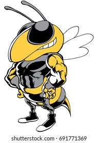 Mascot Bee standing tough, reminiscent of traditional school mascots but with a new look and attitude. Suitable for all sports.
