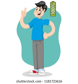 Mascot Bob man person, with 100%, excited, with energy. Ideal for informational and institutional related to medicine