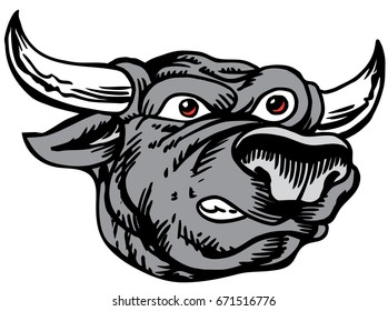 Mascot Bull head, proud and tough, which gives tribute to traditional school mascots but with a new look and attitude. Suitable for all sports.