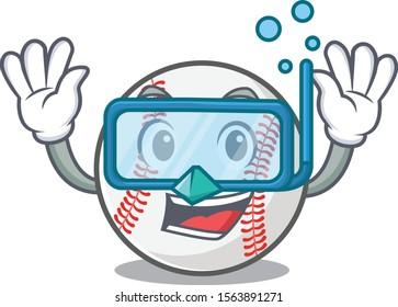 Mascot cartoon baseball the in diving shape