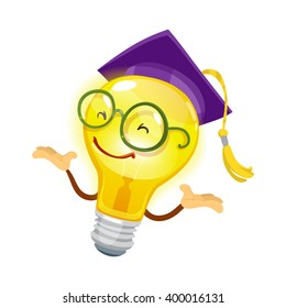 Mascot cartoon character cheerful bulb in glasses and hat university graduate on white background