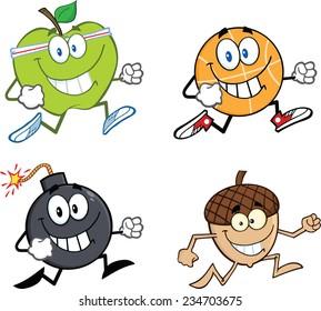 Mascot Cartoon Character Jogging - 2. Vector Collection Set