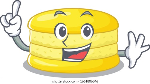 mascot cartoon concept lemon macaron in One Finger gesture