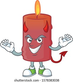 mascot cartoon of red candle on a Devil gesture design