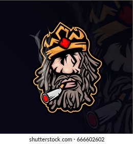 Mascot in cartoon style of old bearded king in crown smoking cigarette. Vector king's head. Middle aged duke.