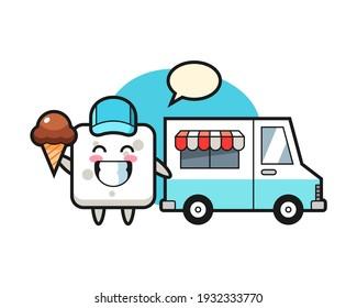 Mascot cartoon of sugar cube with ice cream truck
