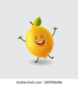 Mascot cartoon vector illustration cute happy lemon isolated background