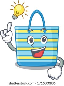 Mascot character design of beach bag with has an idea smart gesture