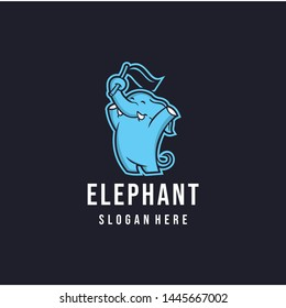 mascot character Elephant winner with flag, happy face , character kids graphic illustration