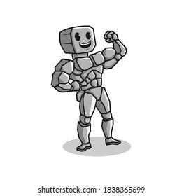 mascot character logo of rock man bodybuilder. vector illustration.