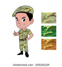 the mascot character of a soldier in full uniform and uniform color choices