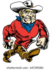 Mascot Cowboy, strutting, proud and tough, which gives tribute to traditional school mascots but with a new look and attitude. Suitable for all sports.