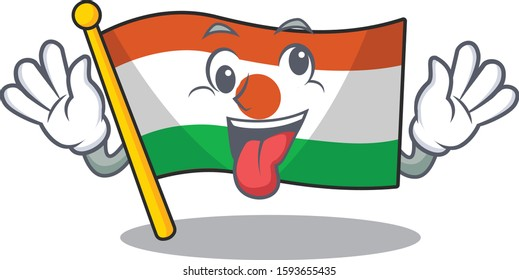 Mascot of crazy face flag niger Scroll Cartoon character style