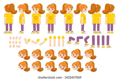 Mascot creation kit of little girl for different poses . Vector constructor with various views, emotions, poses and gestures. Schoolgirl character creation set.