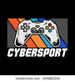 Mascot cybersport Logo for team with gamepad for play video game for gamer. Vector design illustration with controller for players of geek culture. Apparel print design for t shirt sticker clothes.
