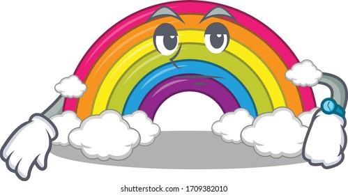Mascot design of rainbow showing waiting gesture