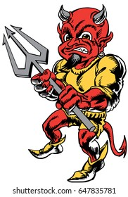 Mascot Devil Head, proud and tough, which gives tribute to traditional school mascots but with a new look and attitude. Suitable for all sports.