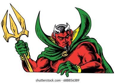 Mascot Devil holding a trident, close-up, tough, which gives tribute to traditional school mascots but with a new look and attitude. Suitable for all sports.