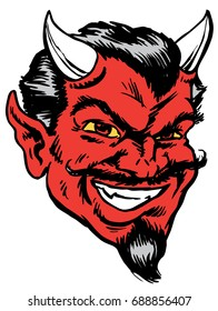Mascot Devil, tough, sneering, comical, whimsical, with up turned mustache, which gives tribute to traditional school mascots but with a new look and attitude. Suitable for all sports.