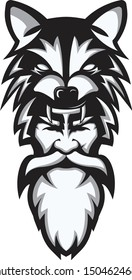 a mascot drawing of a berserker viking wearing a wolf head  .. monochrome