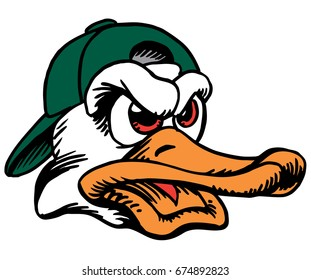 Mascot Duck head, proud and tough, which gives tribute to traditional school mascots but with a new look and attitude. Suitable for all sports.