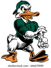 Mascot Duck, strutting, proud and tough, which gives tribute to traditional school mascots but with a new look and attitude. Suitable for all sports.
