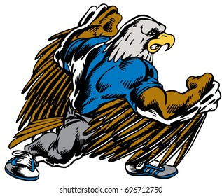 Mascot Eagle fighting, from back view,  reminiscent of traditional school mascots but with a new look and attitude. Suitable for all sports.