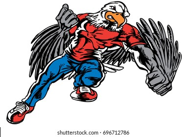 Mascot Eagle fighting, face forward reminiscent of traditional school mascots but with a new look and attitude. Suitable for all sports.