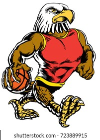 Mascot Eagle holding a basketball wearing a tank top, strutting, proud and tough, which gives tribute to traditional school mascots but with a new look and attitude. Suitable for all sports.