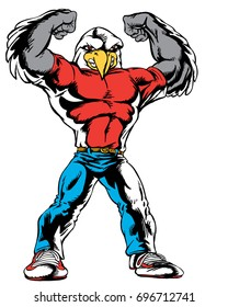 Mascot  Eagle showing off muscles, reminiscent of traditional school mascots but with a new look and attitude. Suitable for all sports.