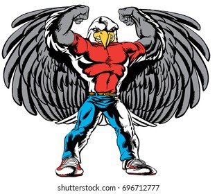 Mascot  Eagle showing off muscles and wings, reminiscent of traditional school mascots but with a new look and attitude. Suitable for all sports.