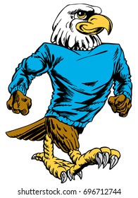 Mascot  Eagle walking and smiling. Reminiscent of traditional school mascots but with a new look and attitude. Suitable for all sports.