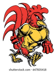Mascot Gamecock, proud and tough, which gives tribute to traditional school mascots but with a new look and attitude. Suitable for all sports.