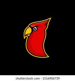 The mascot / gaming logo of the Cardinal bird. striking red color and distinctive yellow beak.