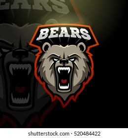 Mascot grizzly bear logo for a sport team. Vector illustration