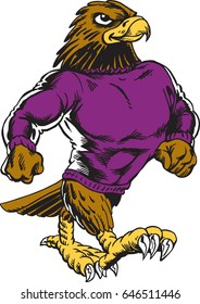 Mascot Hawk of Falcon walking upright, human like, proud and tough wearing a sweat shirt and a cap. This illustration gives tribute to traditional school mascots. Suitable for all sports.