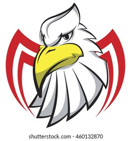 Mascot Head of an Eagle in the form of the stylized tattoo, logo vector on isolated