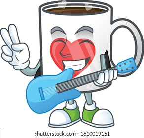 A mascot of heart cup of coffee performing with guitar